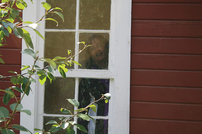 Me looking through the cabin window.