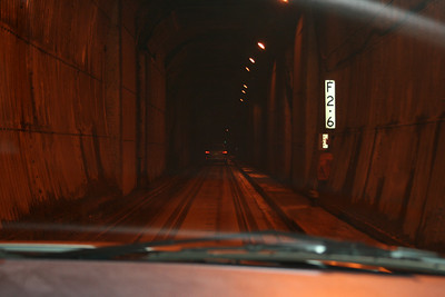 The tunnel is used by the train, cars and pedestrians. We drove right on top of the tracks.