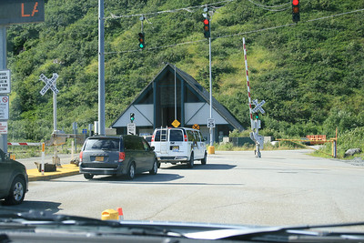 The one-way tunnel from Whittier to the rest of the Kenai peninsula.