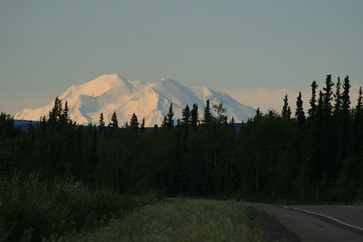 About 50 miles down the road, on our way to Fairbanks, Randy saw Denali behind us!